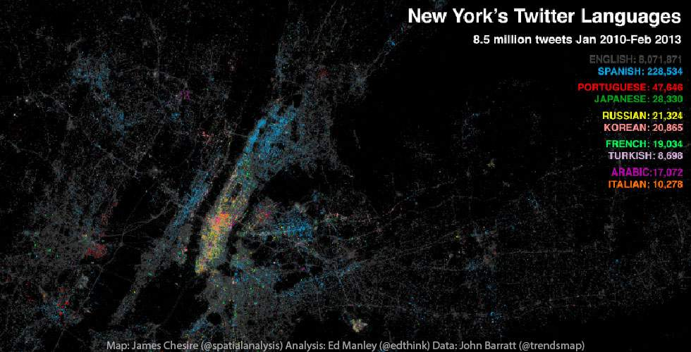 Twitter NYC, a Multilingual Social City