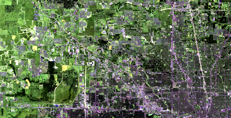 False-color image of flood-prone Houston suburbs